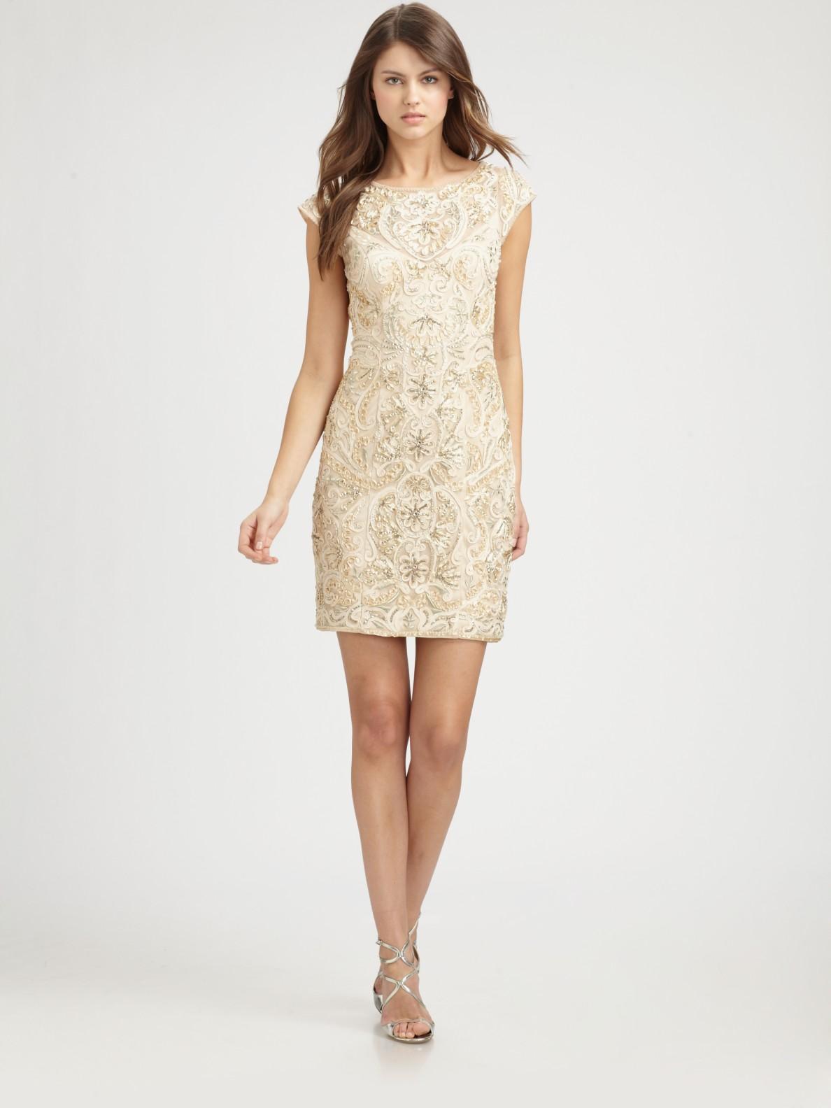 Sue wong Beaded Dress in Metallic | Lyst