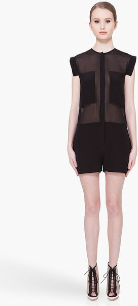 T By Alexander Wang Black Silk Romper Jumpsuit - Lyst
