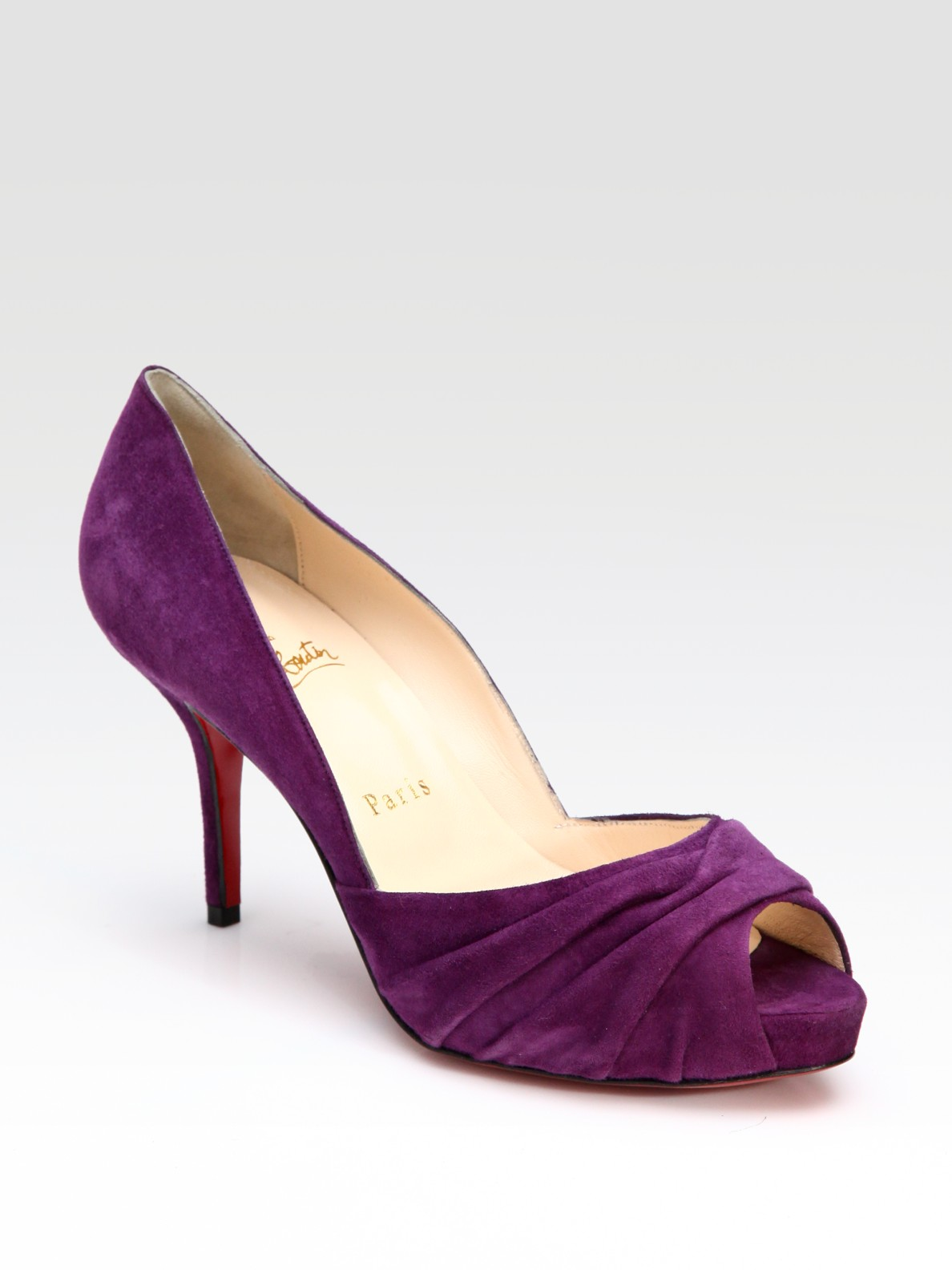 replica louboutin - Christian louboutin Pleated Suede Pumps in Purple | Lyst