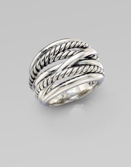 david yurman wide cable accented ring in silver lyst