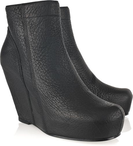 Rick Owens Leather Wedge Ankle Boots in Black - Lyst