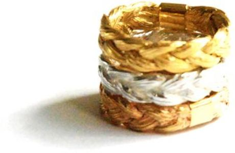 Ayako Kanari Magnitude Plait Set Of Three Rings in Gold (silver) - Lyst