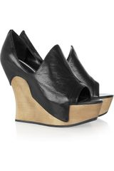 Camilla Skovgaard Tanganica Leather and Wood Wedge Mules - Lyst