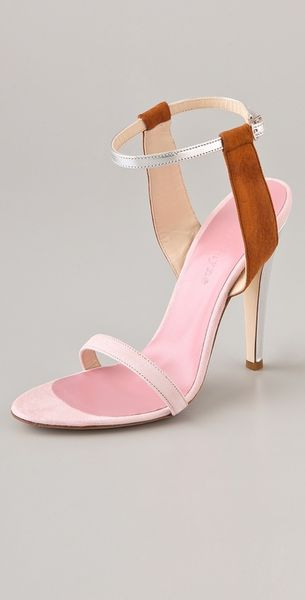 Jenni Kayne Suede Ankle Strap Sandals in Silver