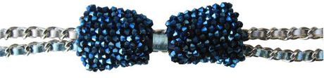Poupee Couture Crystal Bow Belt in Blue