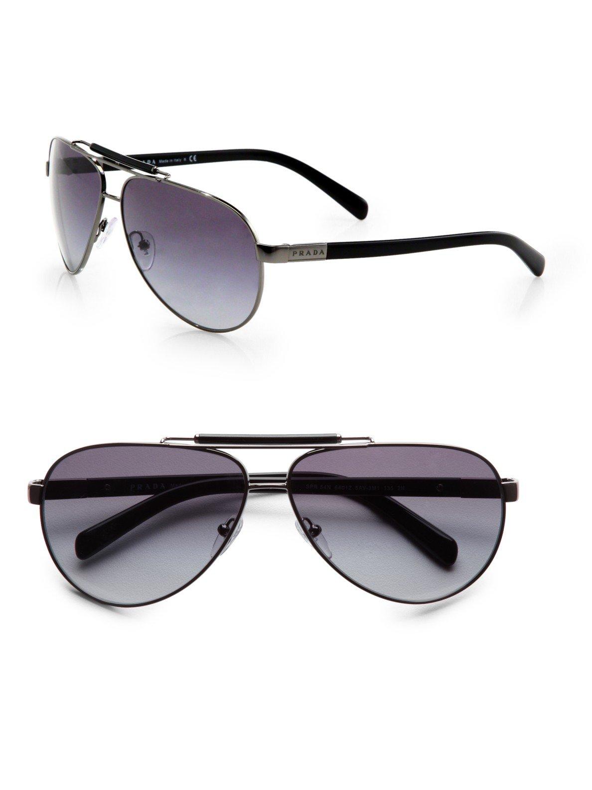 Lyst Prada Outdoorsman Aviator Sunglasses In Metallic