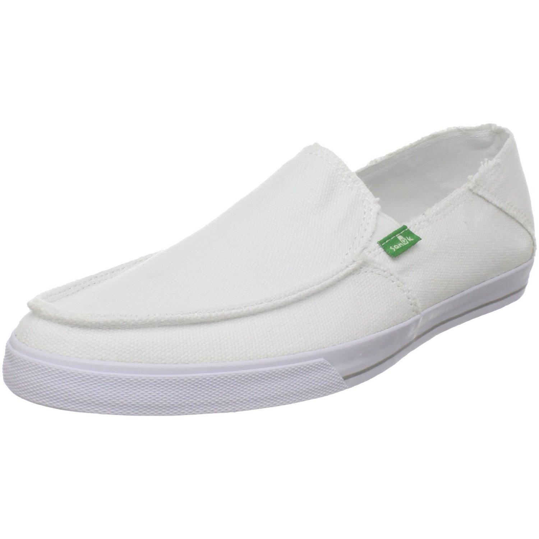 sanuk mens standard slip on in white for lyst