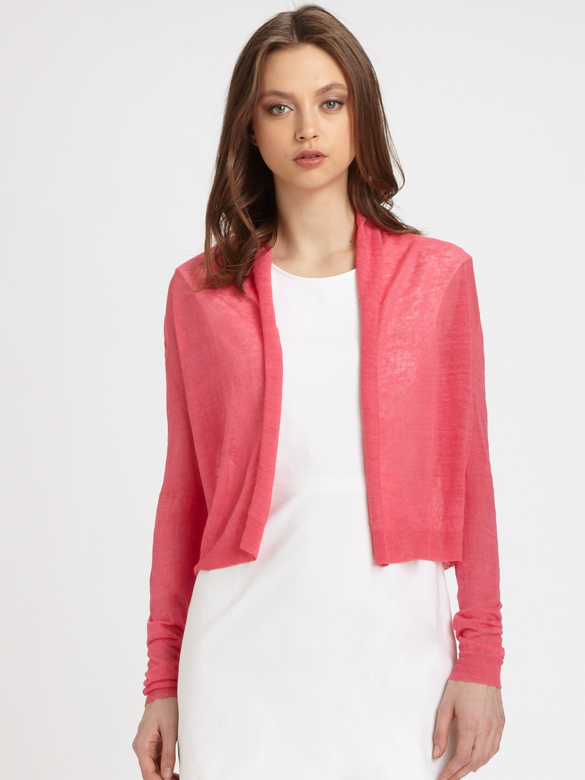 Theory Semi-Sheer Open-Front Cardigan in Pink | Lyst