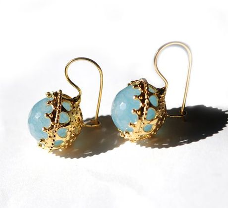 Toosis Blue Quartz Ball Earrings in Blue
