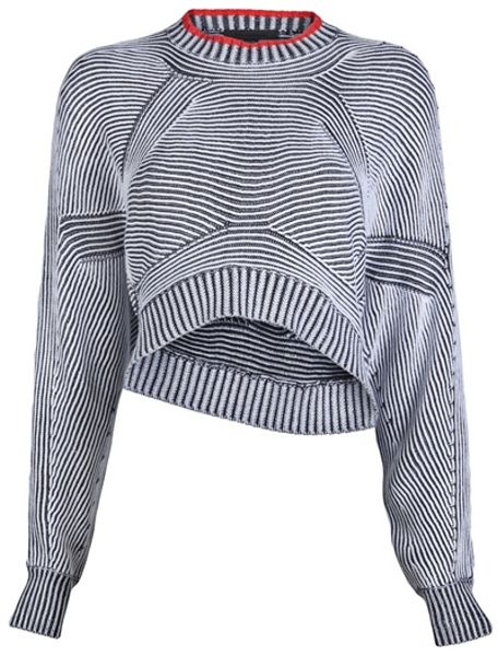 Alexander Wang Bicolor Shrug Sweater in Gray (black) - Lyst