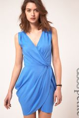 Asos Collection Asos Petite Sleeveless Wrap Dress in Blue - Lyst