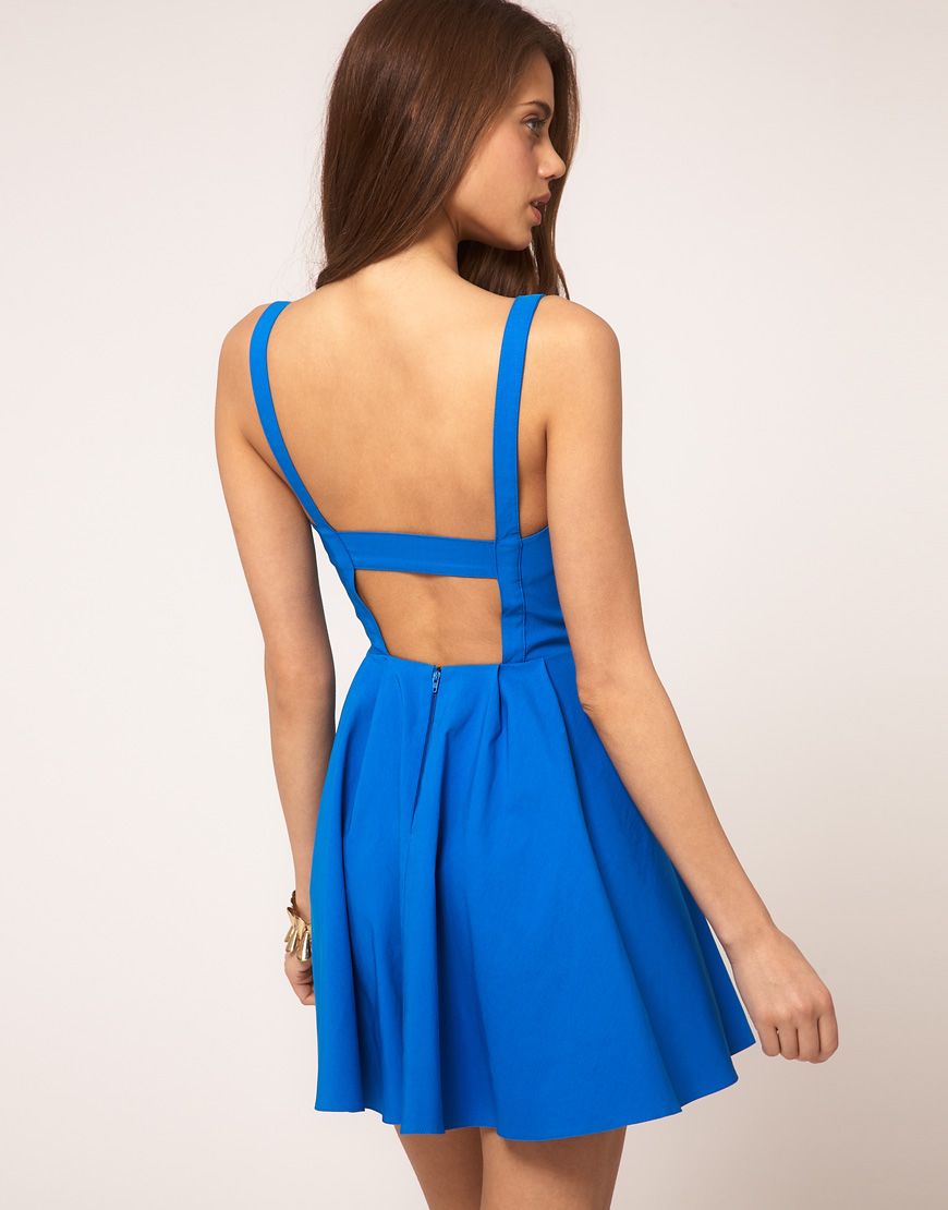 Lyst Asos Collection Asos Skater Dress In Bengaline In Blue
