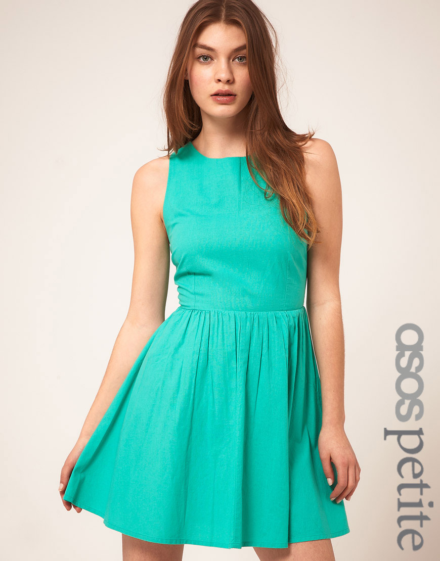 Asos collection Petite Summer Dress With Open Back in Green | Lyst