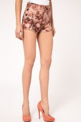 Asos Collection  Knicker Short in Floral Print in Blue (multi) - Lyst