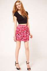ASOS Collection Asos Mini Bell Skirt in Pink Floral Print - Lyst
