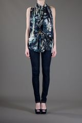 Balmain Eagle Print Top in Blue - Lyst