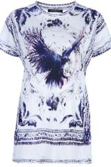 Balmain Eagle Print Tshirt in White - Lyst