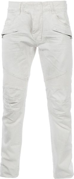 Balmain Zip Pocket Jean in White for Men - Lyst