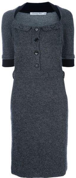 Dior Belted Dress in Gray (black) - Lyst
