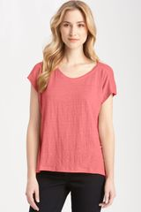 Eileen Fisher Box Pleat Linen Jersey Tee - Lyst