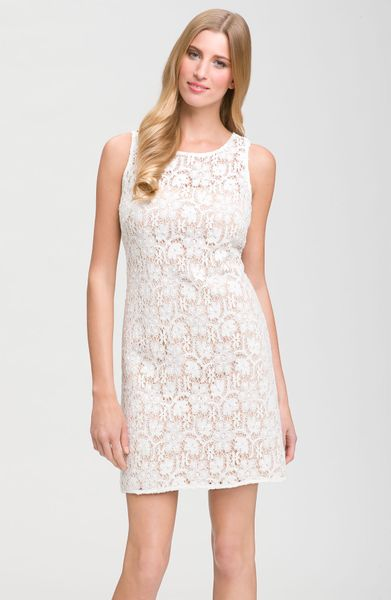 Js Collections Sleeveless Lace Dress in White (ivory/ nude)