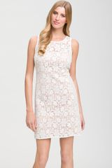 Js Collections Sleeveless Lace Dress in White (ivory/ nude) - Lyst