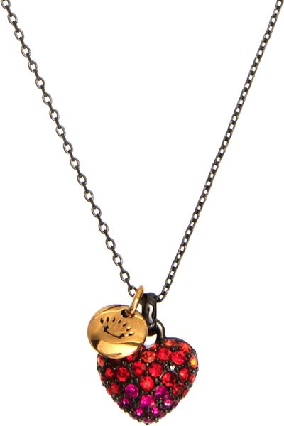 juicy couture pave heart necklace in red lyst. Black Bedroom Furniture Sets. Home Design Ideas