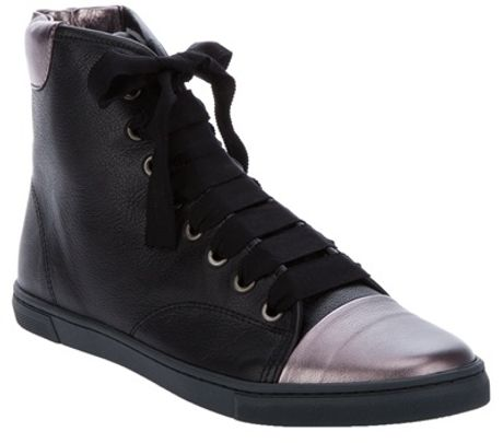 Lanvin Metallic Cap Trainer in Black - Lyst
