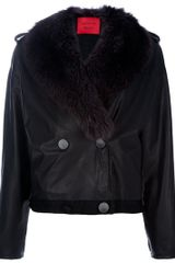 Lanvin Mink Fur Collar Leather Jacket - Lyst