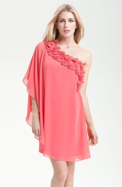 Max & Cleo Dress Kristine One Shoulder Dress in Orange (coral rose) - Lyst
