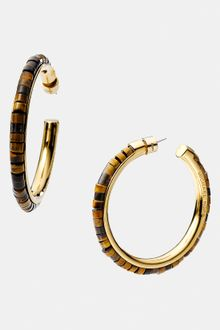 Michael by Michael Kors Michael Kors Sleek Exotics Large Bead Hoop Earrings - Lyst