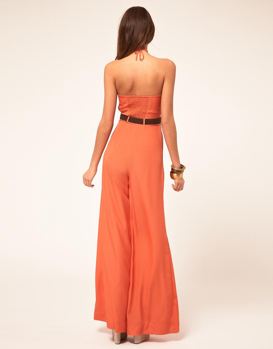 lyst miss sixty wide leg jumpsuit in orange. Black Bedroom Furniture Sets. Home Design Ideas