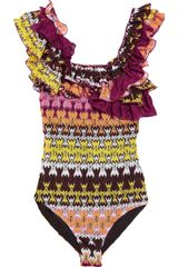 Missoni Havra Ruffled Crochet Knit Swimsuit