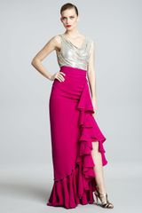 Naeem Khan Metallicbodice Combo Gown in Purple (fuchsia) - Lyst