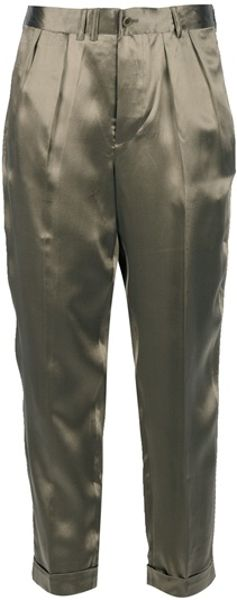 Ralph Lauren Blue Label Cropped Trouser in Green (olive) - Lyst