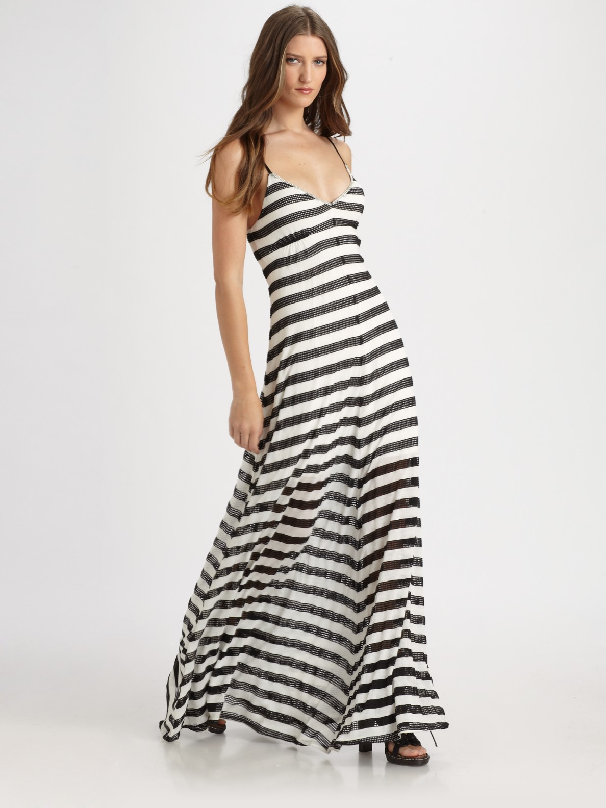 Royal underground Mesh Striped Maxi Dress in Black | Lyst