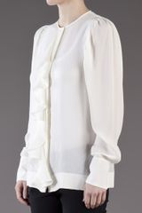 Stella Mccartney Drape Flutter Shirt in White - Lyst