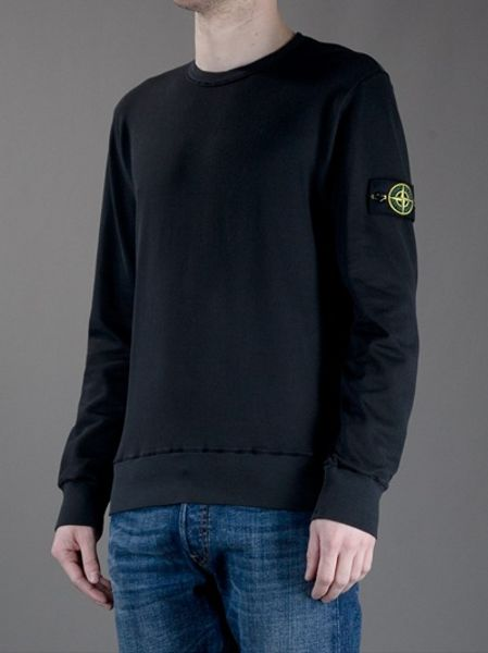 Stone Island Cotton Jumper In Black For Men Lyst
