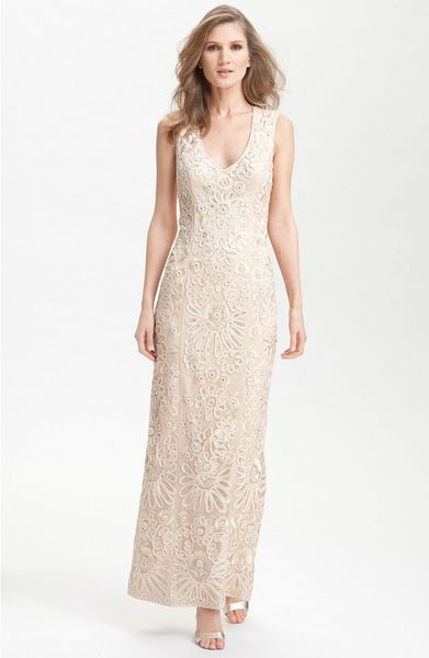 Sue Wong Sleeveless Beaded Gown in Gold (champagne) - Lyst
