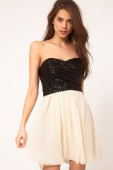 Tfnc Tfnc Dress with Sequin Bandeau Chiffon Skirt - Lyst