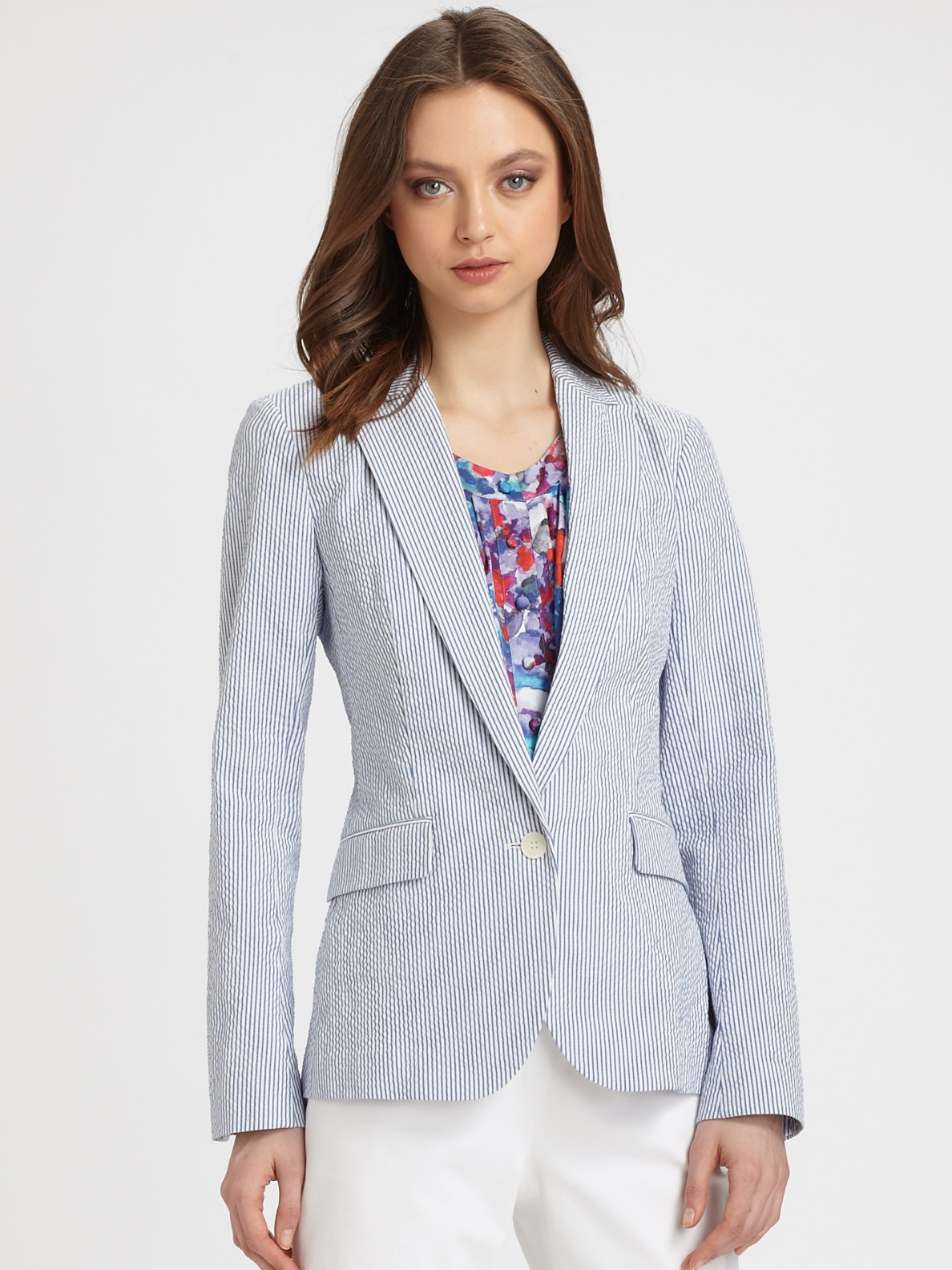 Theory Seersucker Blazer In Blue Lyst