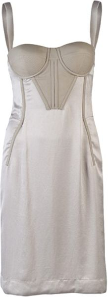 Bottega Veneta Corset Dress in Gray (grey) - Lyst