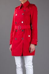 Burberry Brit Trench Coat in Red - Lyst