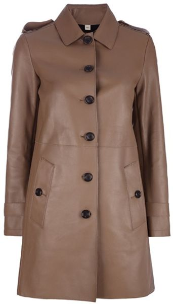 Burberry Single Breasted Leather Coat in Brown - Lyst
