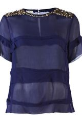 By Malene Birger Ansara Sequin Shoulder Top in Blue (navy) - Lyst
