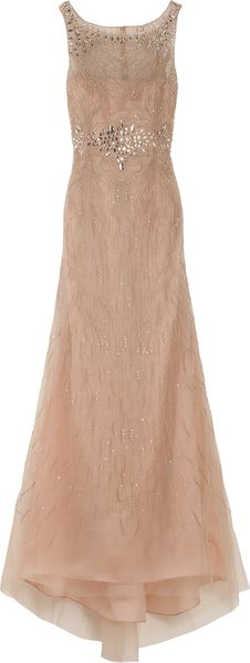 Carolina Herrera Round Neck Embroidered Gown in Beige - Lyst