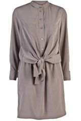 Carven Front Tie Dress in Brown (tan) - Lyst
