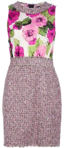 D&g Tweed Print Dress in Pink - Lyst