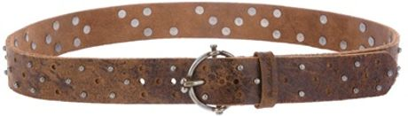 Diesel Black Gold Studded Leather Belt in Brown for Men - Lyst
