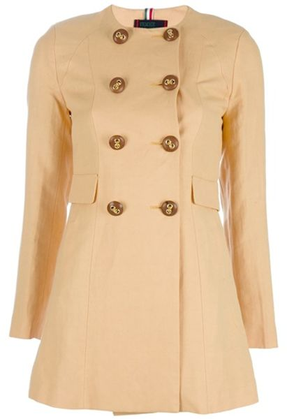 Femme Double Breasted Coat in Yellow - Lyst